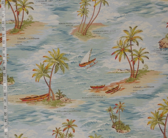 RETRO HAWAIIAN CARIBBEAN FABRIC