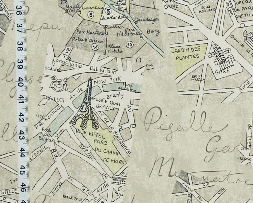 image regarding Printable Maps of Paris identified as Paris map cloth history print versus Brick Home Material