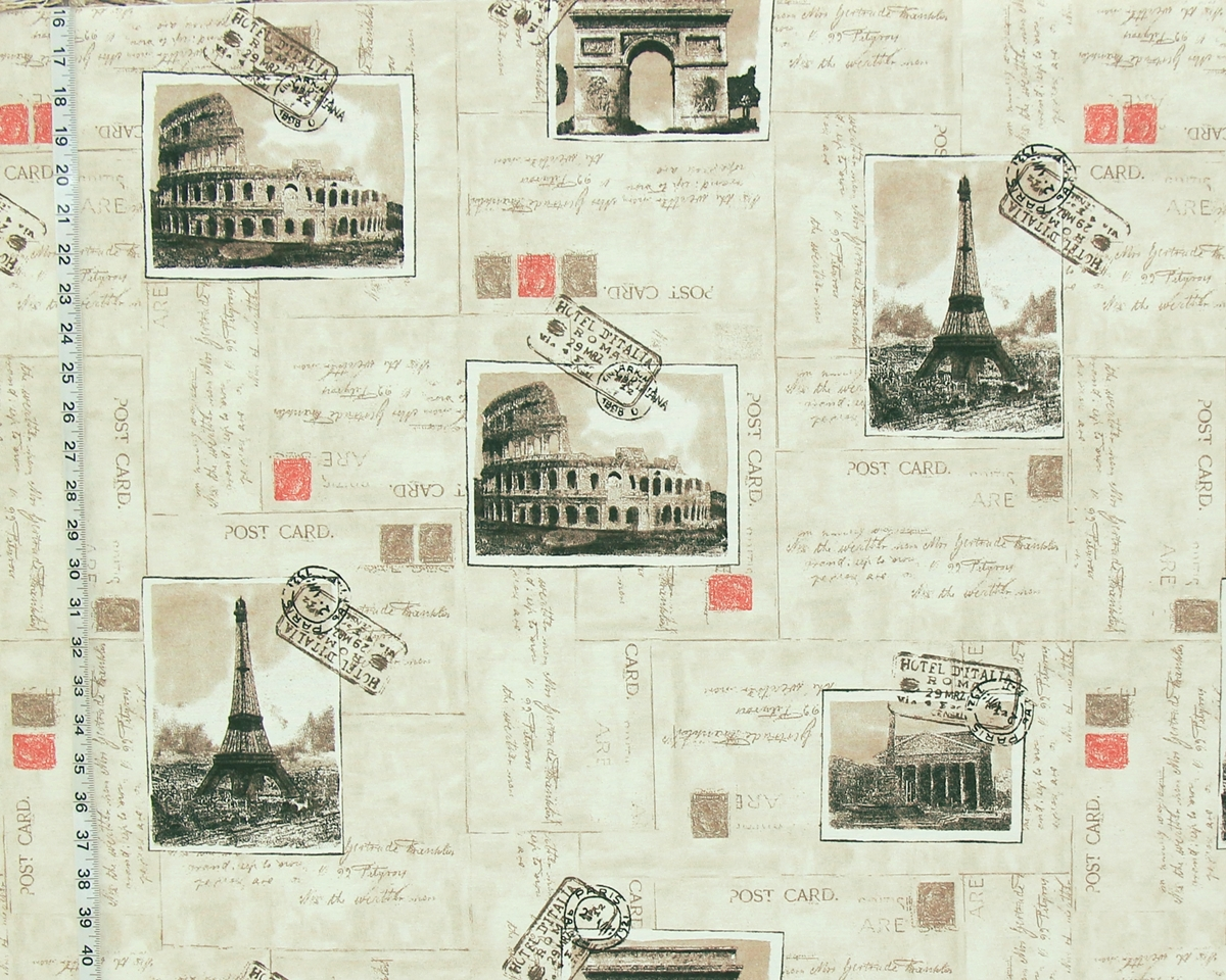 PARIS ROME POSTCARD FABRIC