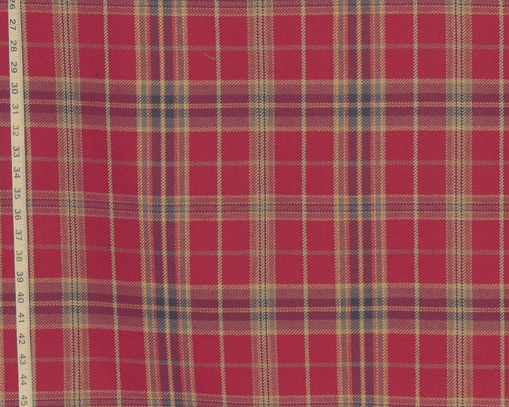 RED PLAID FABRIC- D2392- CARDINAL