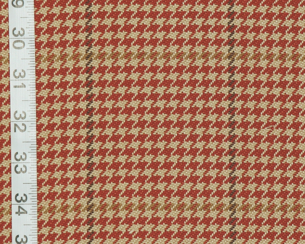 HOUNDSTOOTH PLAID FABRIC D2908- CARDINAL