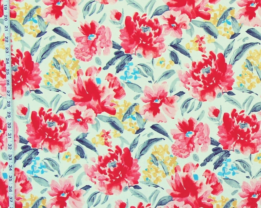Red pink peony fabric spring flower garden watercolor from Brick ...