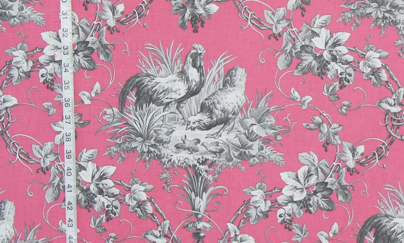 PINK CHICKEN ROOSTER TOILE FABRIC