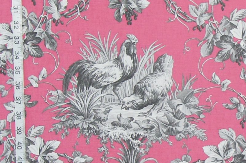 Pink Rooster and Chicken Toile Fabric