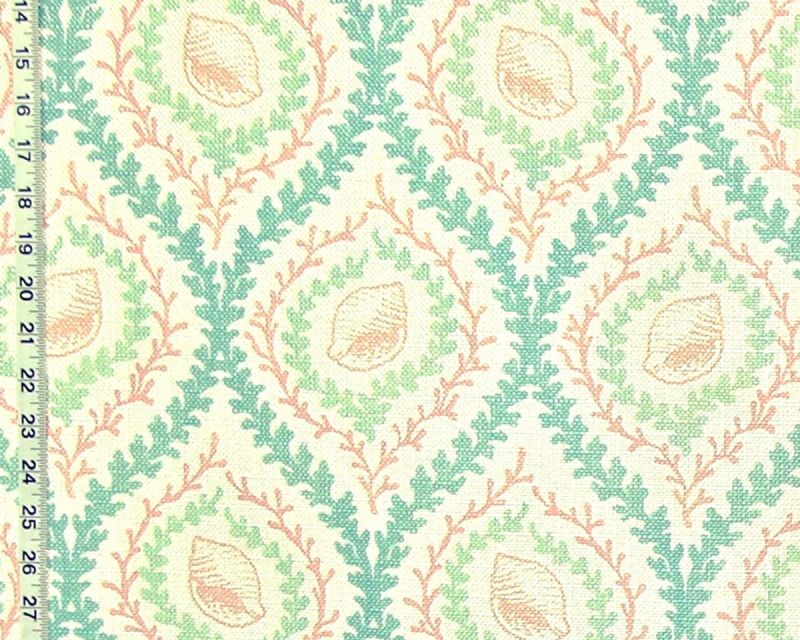 PINK BLUE SEASHELL CORAL TRELLIS FABRIC