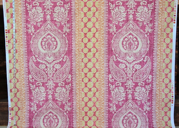 PROVENCE PAISLEY FABRIC IN ORANGE AND VIOLET