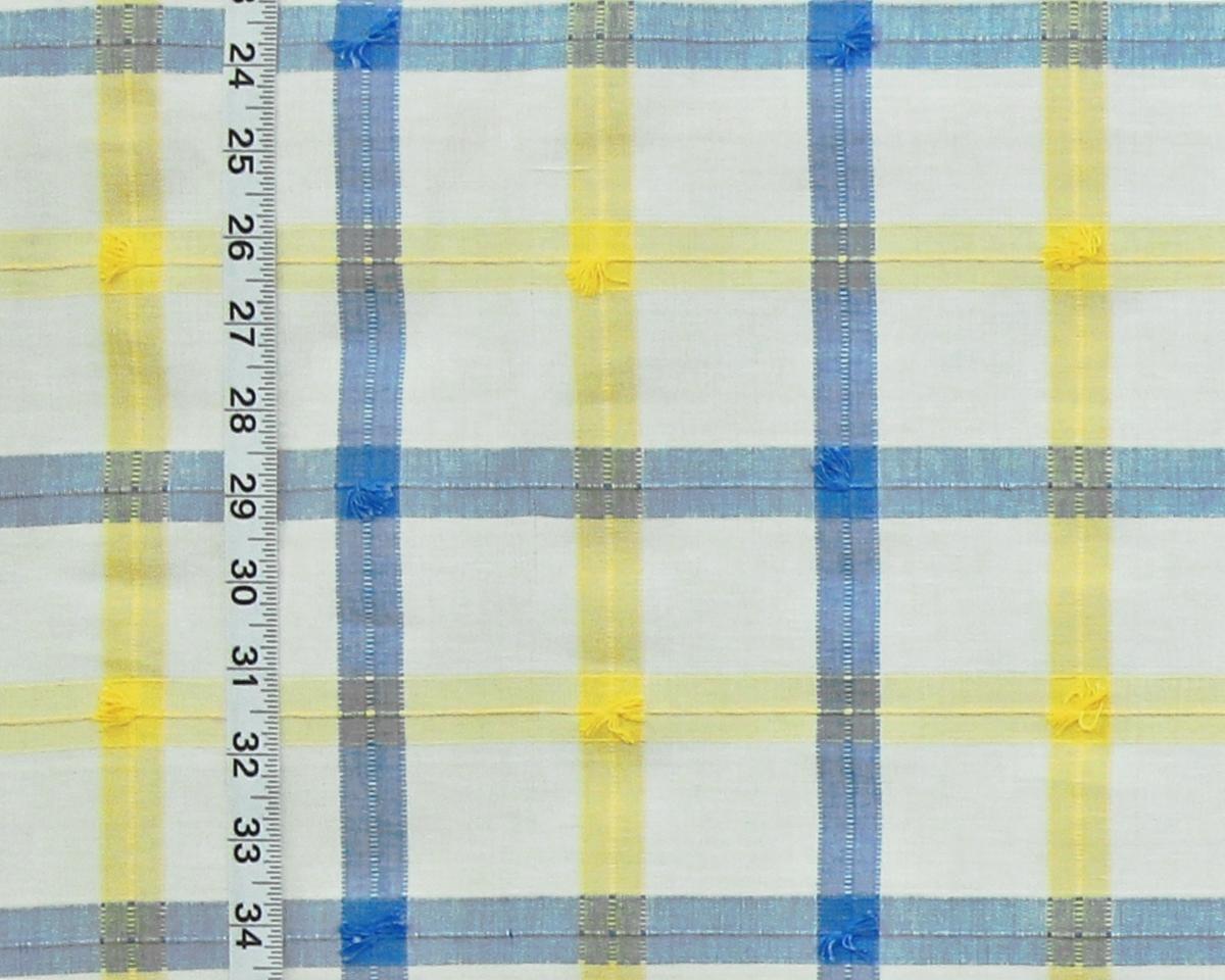 BLUE YELLOW PROVENCE WINDOWPANE PLAID FABRIC
