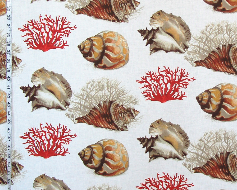 Red Coral Conch Seashell Fabric