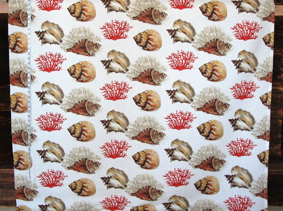 Red Coral Seashell Fabric