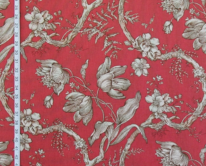 RED TULIP WOODLAND TOILE FABRIC