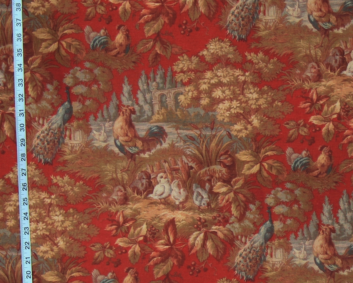 RED ROOSTER TOILE FABRIC