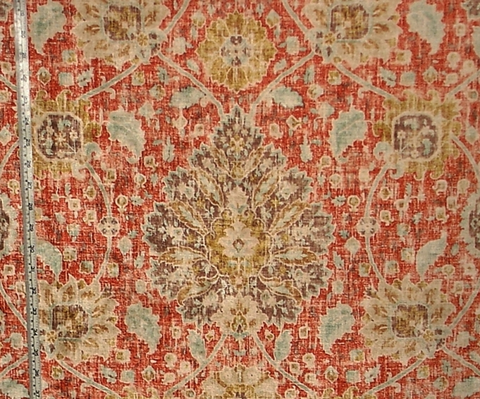 Vintage Persian Rug Fabric Orange Blue Chenille Velvet Upholstery