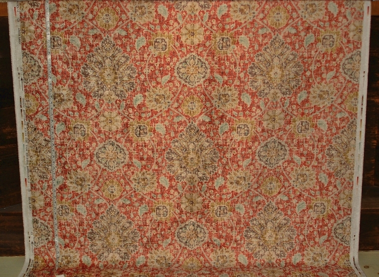 Persian Rug Fabric in Orange