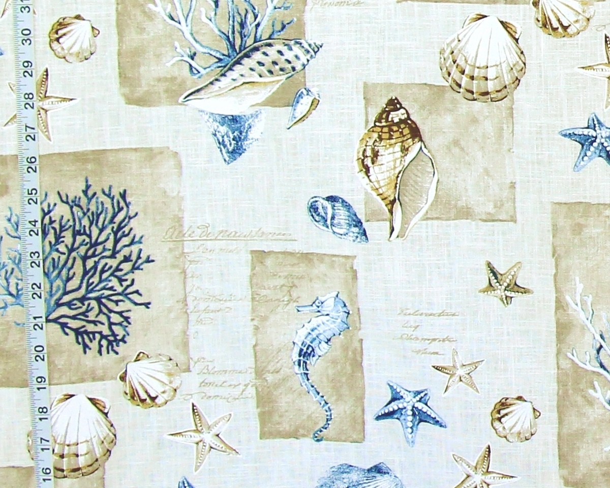 BLUE CORAL SEAHORSE FABRIC FRENCH WRITING