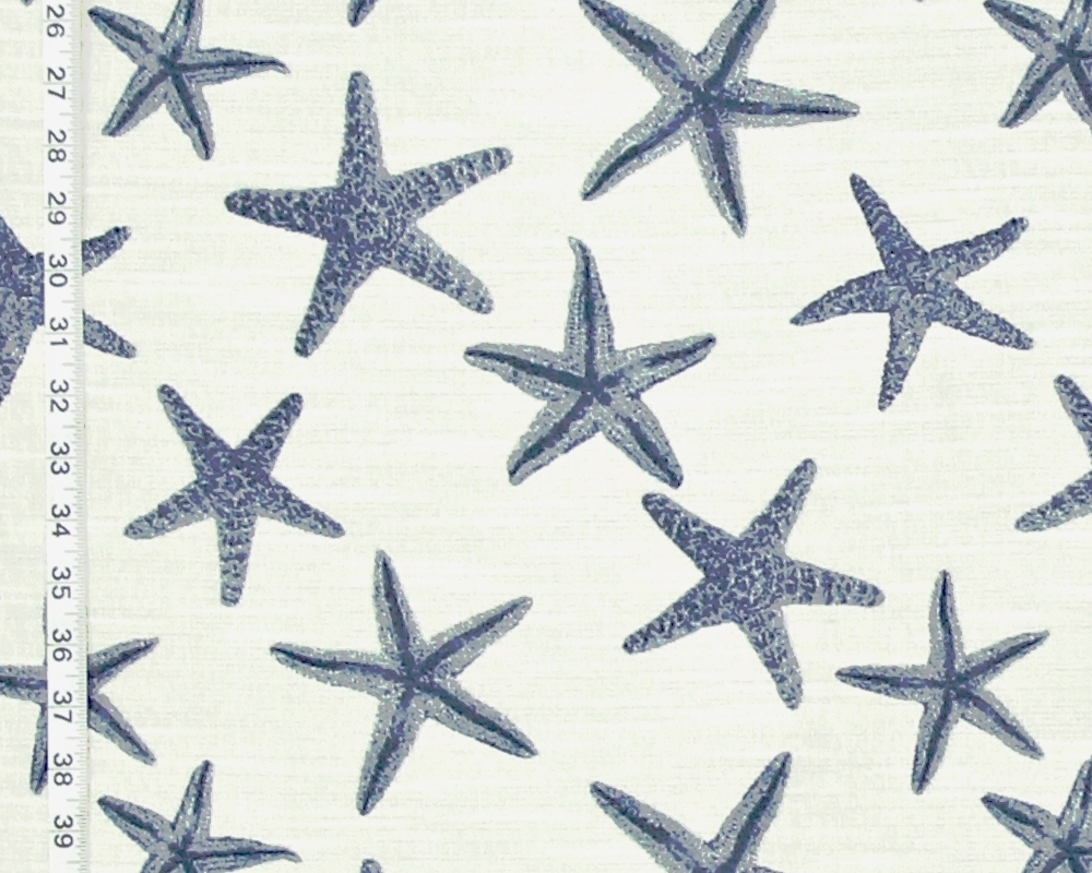 Blue Sea Star Upholstery Fabric