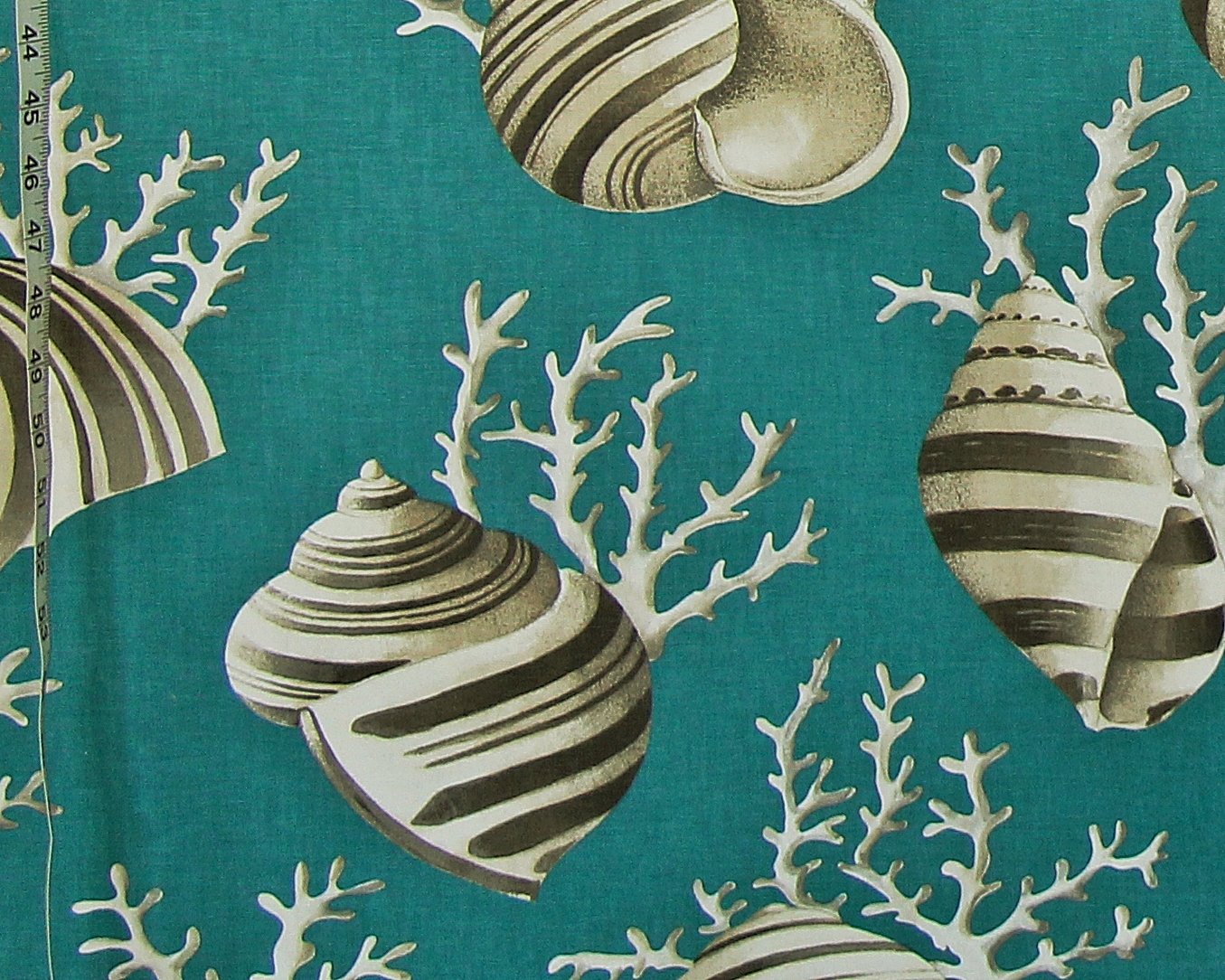Teal Seashell Coral Fabric