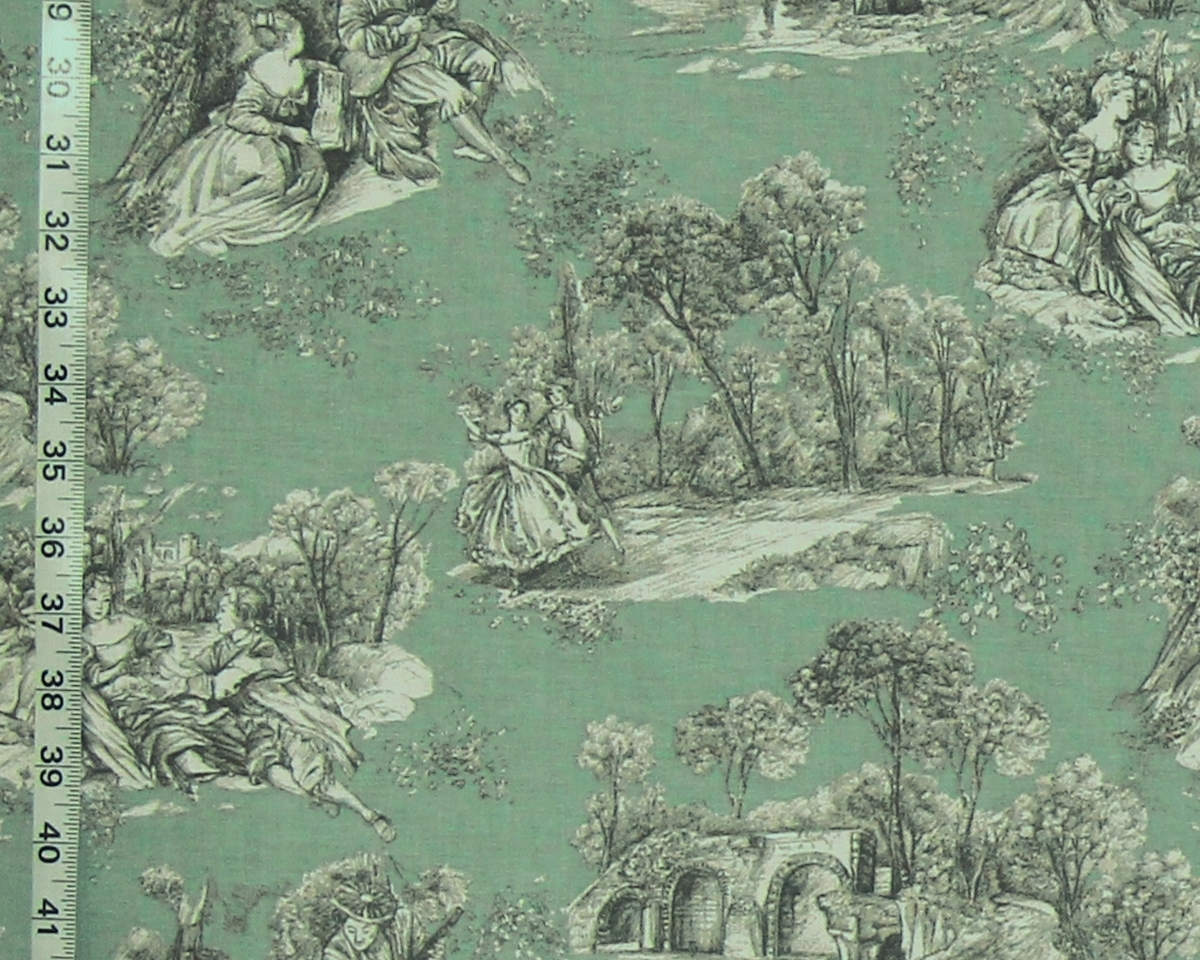 TEAL GREEN TOILE DE JOUY FABRIC