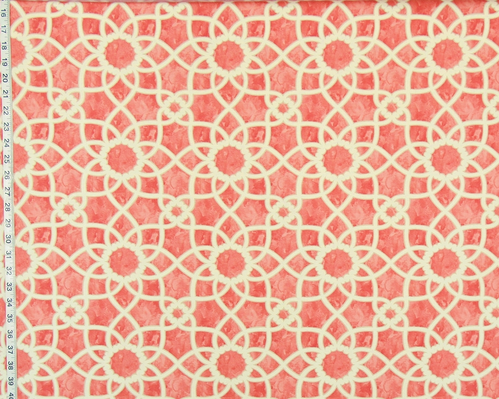 Coral orange tile fabric