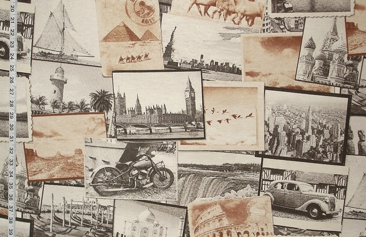 SEPIA TRAVEL PHOTOGRAPH FABRIC