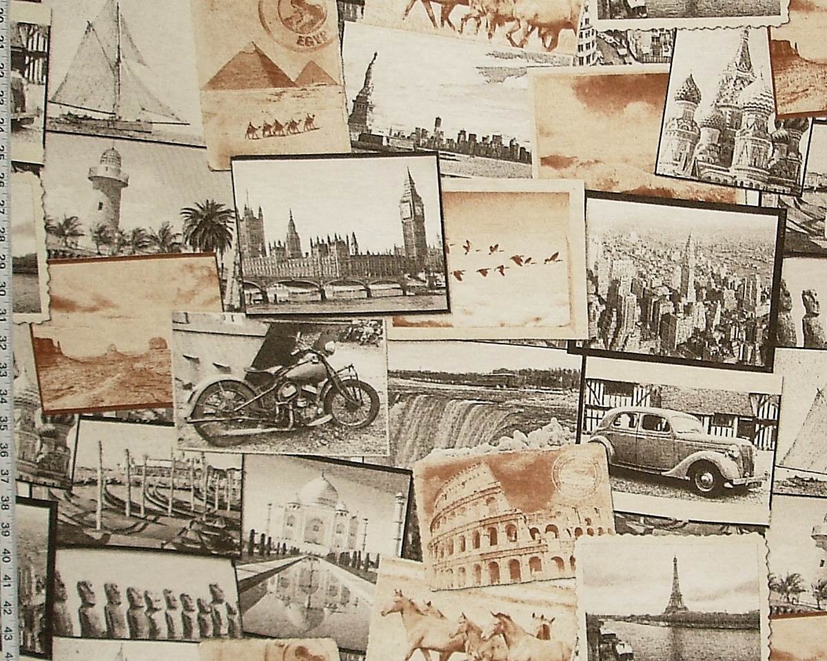 VINTAGE POSTCARD TRAVEL FABRIC