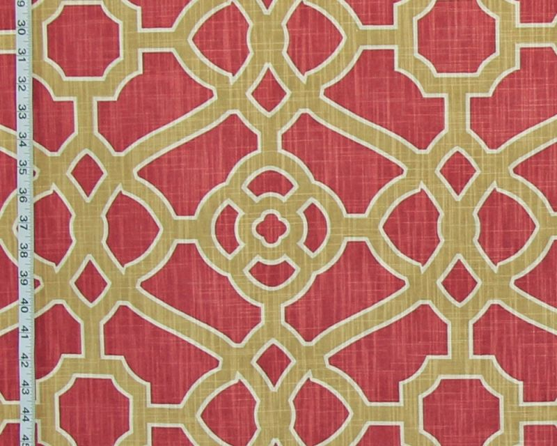 Orange Gold Fretwork Fabric