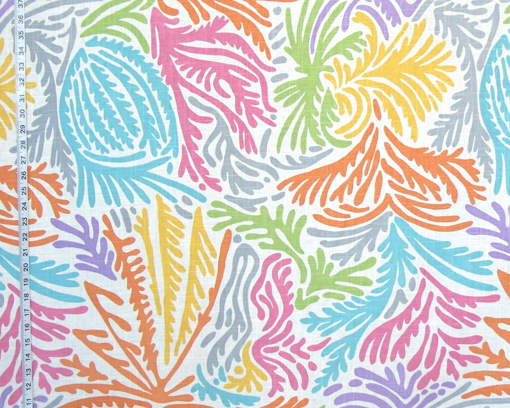 ABSTRACT CORAL PALM OCEAN FABRIC