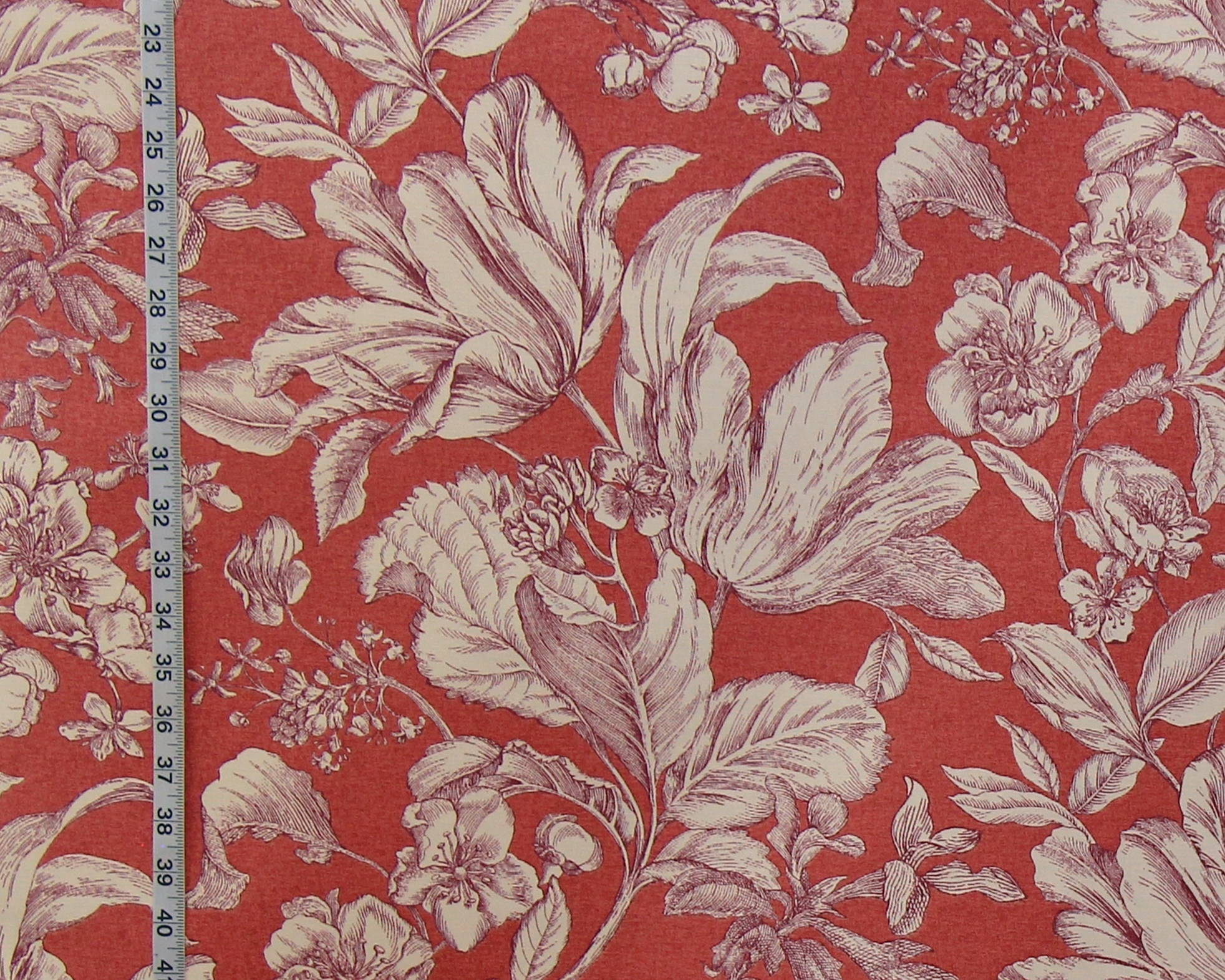 PURPLE TULIP TOILE FABRIC SALMON ROSE