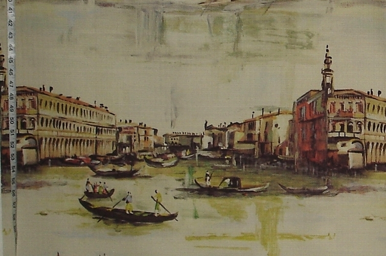 VINTAGE VENICE OIL PAINTING FABRIC