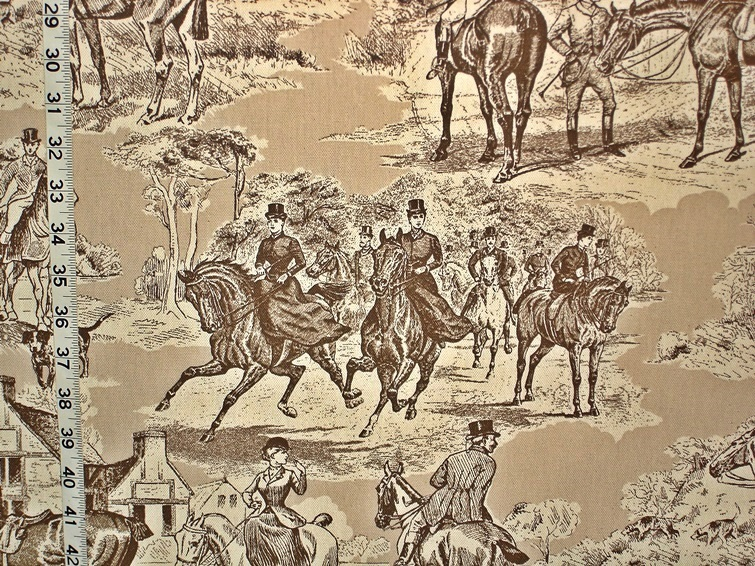 Equestrian horse fabric Victorian brown toile Double wide
