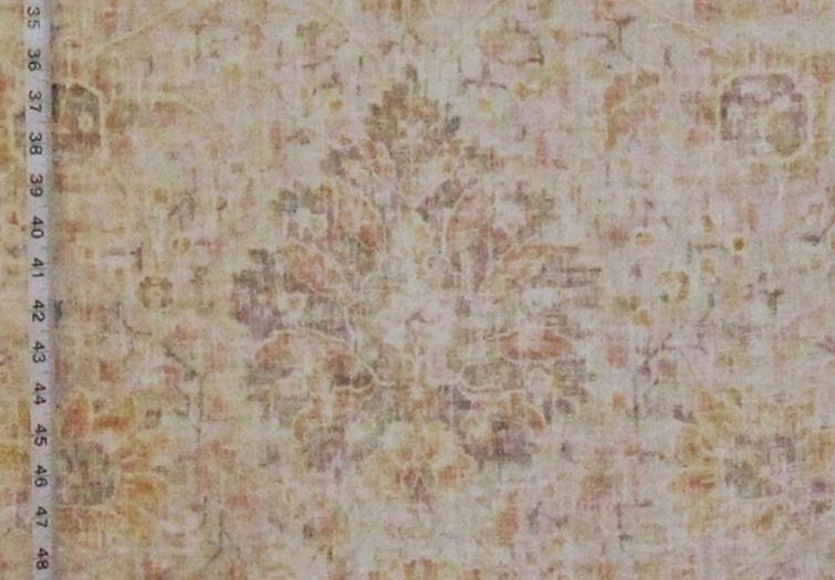 Vintage Persian Rug Fabric Salmon Apricot Pastel Chenille Velvet Upholstery