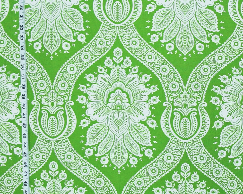 GREEN COLONIAL WALLPAPER FABRIC