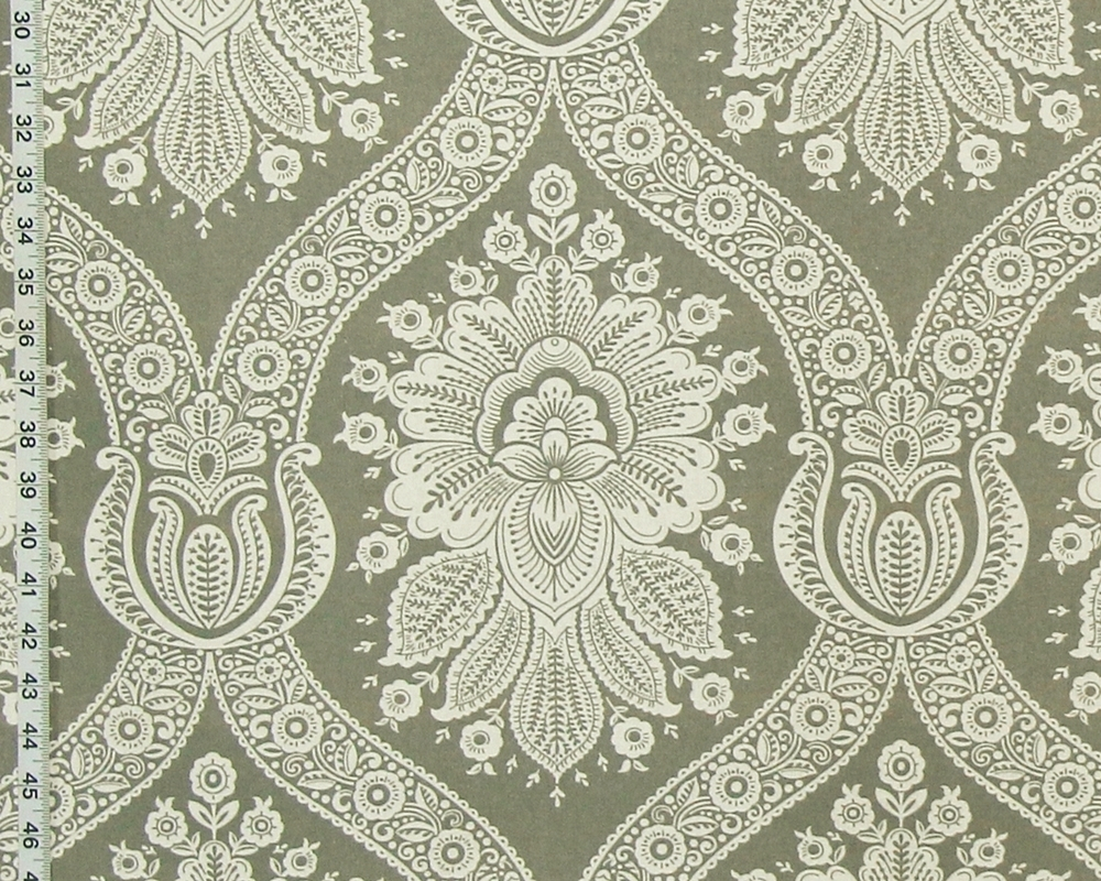 GREY COLONIAL WALLPAPER FABRIC