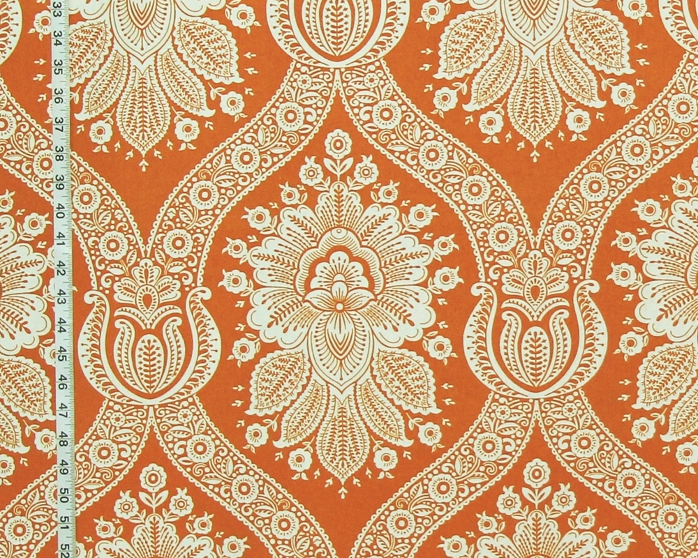 Orange Colonial Floral Toile Fabric Modern From Brick House Fabric