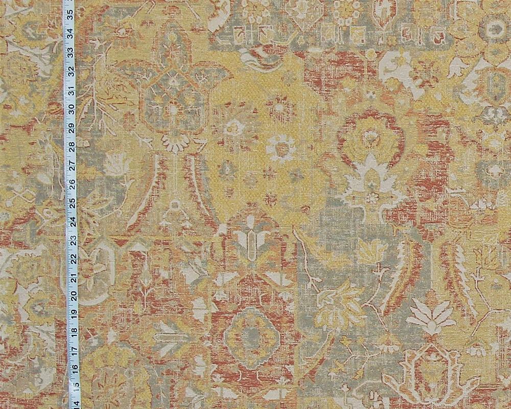 Vintage Arts And Crafts Rug Fabric Yellow Orange Craftsman Asian