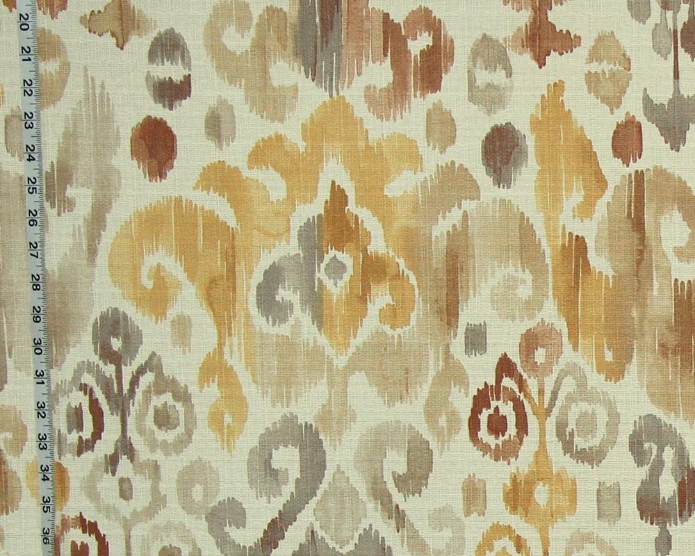Gold brown grey ikat fabric watercolor 52\