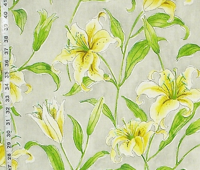YELLOW LILY FLOWER FABRIC