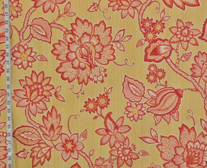 YELLOW SALMON INDIENNE FABRIC