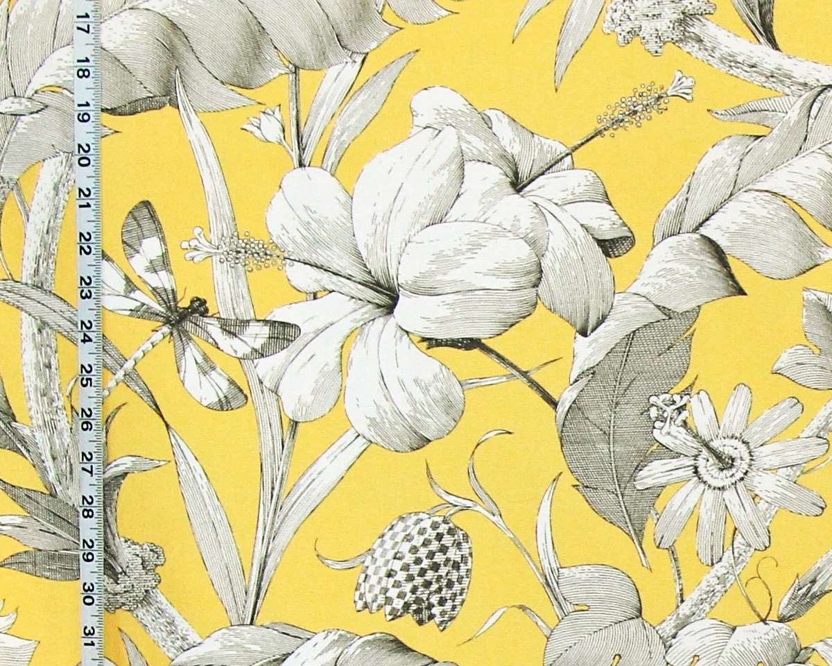 YELLOW TROPICAL FLORAL FABRIC