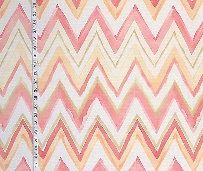 CHEVRON STRIPED FABRIC IN WATERMELON