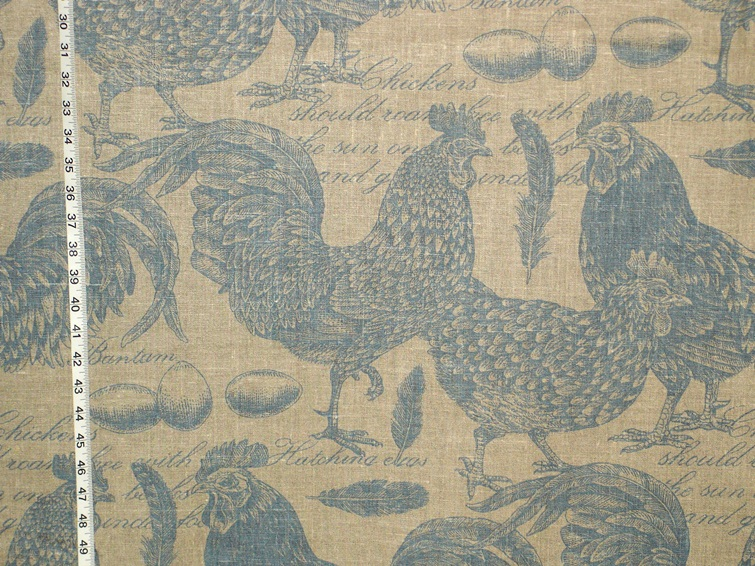 BLUE BANTAM CHICKEN TOILE FABRIC