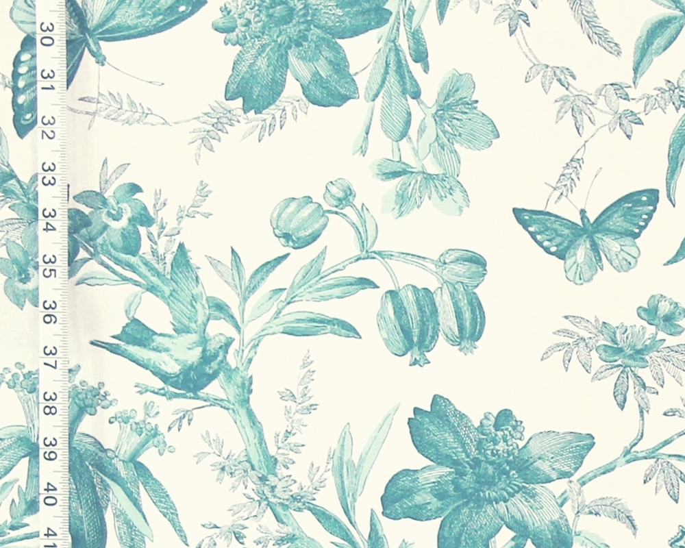 AQUA BIRD TOILE FABRIC