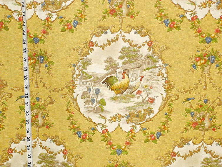 Marvelous French Country Fabrics Part - 9: P.Kaufmann County Fair - Yellow Rooster Toile Fabric French Country
