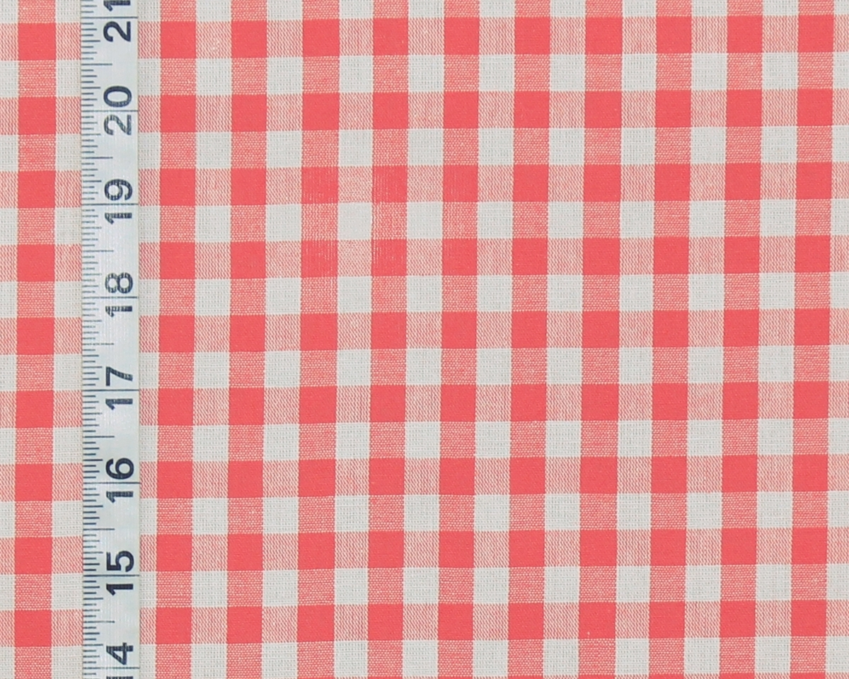 Coral Orange Checked Gingham Fabric Salmon Pink From Brick House Fabric Novelty Fabric