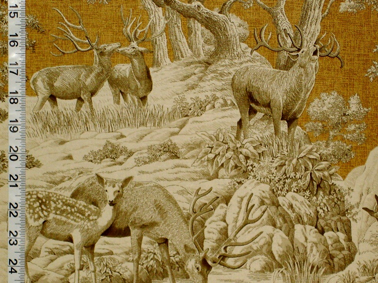 Gold Deer Toile Fabric
