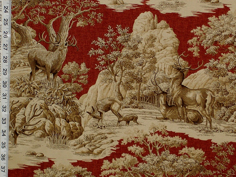 Red Deer Toile Fabric