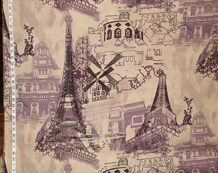 Purple Paris Toile Fabric