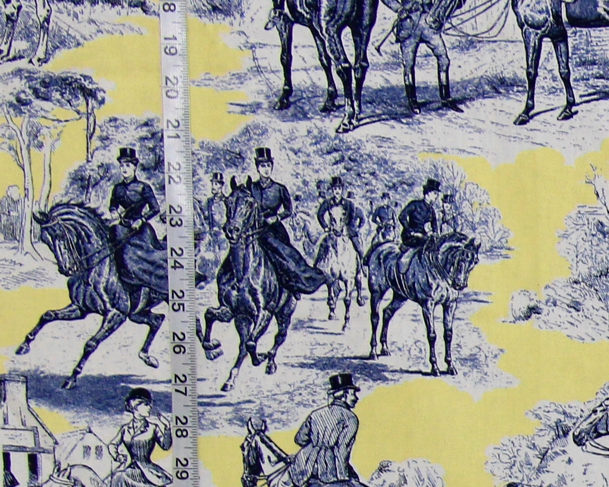 YELLOW BLUE HORSE TOILE FABRIC