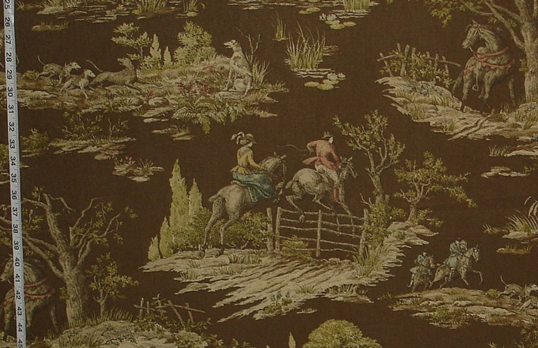 VICTORIAN HORSE RIDING FISHING FABRIC