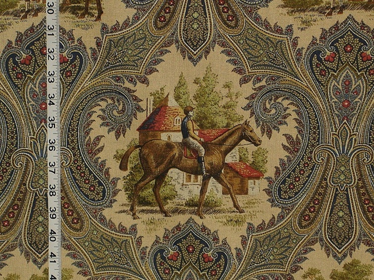Horse jockey fabric paisley blue toile from Brick House Fabric ...
