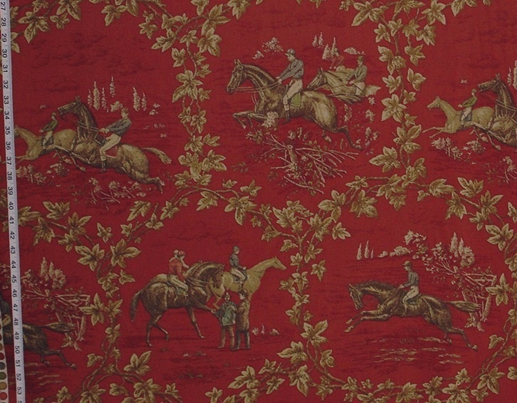 RED HORSE RACING FABRIC